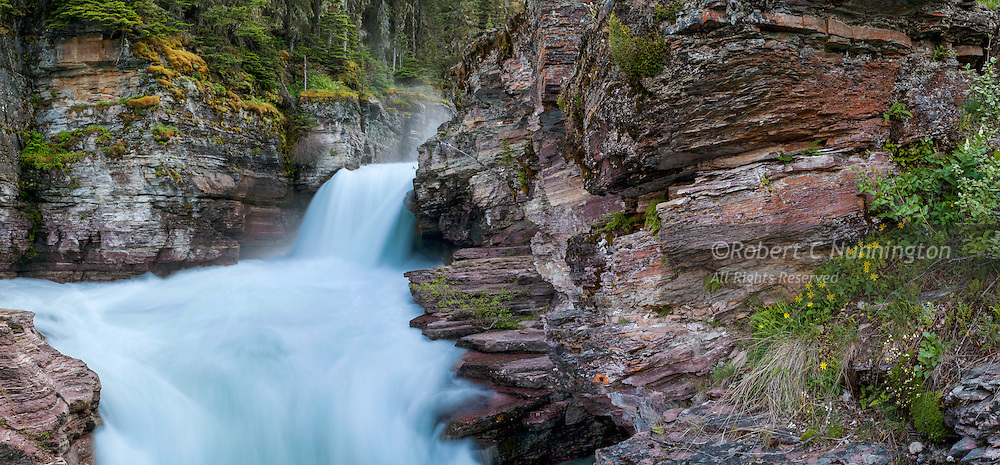 The rushing icy glacial waters of St. Mary Falls provide a popular hiking destination in Glacier National Park, Montana, USA