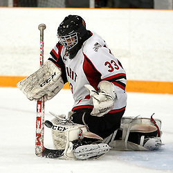 STOUFFVILLE, ON - Feb 13 : Ontario Junior Hockey League Game Action between the Stouffville Spirit Hockey Club and the Mississauga Chargers Hockey Club.  Tim Bester #33 of the Stouffville Spirit Hockey Club makes the save during third period game action.<br /> (Photo by Michael DiCarlo / OJHL Images)