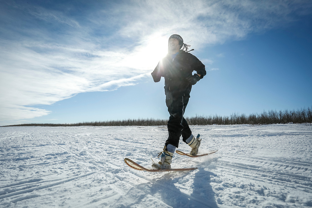 Snowshoe races during the Inuvik Muskrat Jamboree are held with traditional snowshoes only – no aluminum allowed.
