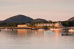 Bar Harbor, Maine as seen from Bar Island.  Mount Desert Island.