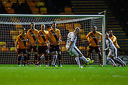 Dundee FC Midfielder Gary Harkins takes the free kick during the Ladbrokes Scottish Premiership match between Motherwell and Dundee at Fir Park, Motherwell, Scotland on 12 December 2015. Photo by Craig McAllister.