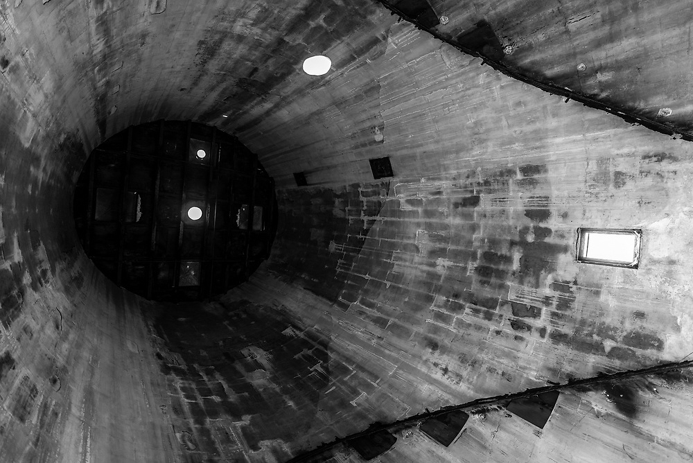 Interior silo composition at the abandoned Link Taylor Furniture plant in Lexington, North Carolina.