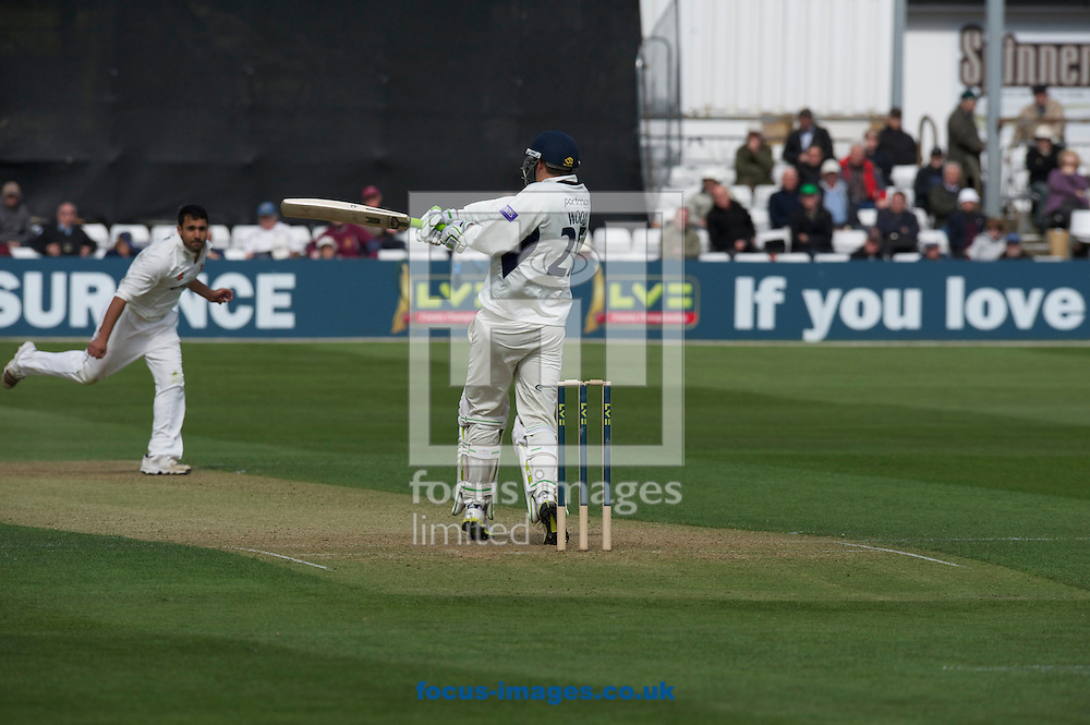 Picture by Alan Stanford/Focus Images Ltd +44 7915 056117.29/04/2013.Ben Foakes of Essex County Cricket Club catches this shot by Christopher Wood of Hampshire County Cricket Club during the LV County Championship Div Two match at the County Ground, Chelmsford, Chelmsford..