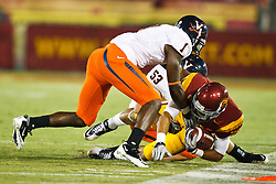 September 11, 2010; Los Angeles, CA, USA;  Virginia Cavaliers safety Trey Womack (1) forces Southern California Trojans running back Dillon Baxter (28) out of bounds during the first quarter at the Los Angeles Memorial Coliseum.