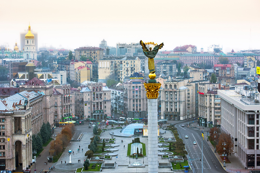 Ukraine, Kyiv, Maidan Nezalezhnosti (Independence Square), Maidan Square, Central Square For Political Rallies, Neo-Classical Stalinist Architecture, Independence Monument With Statue of Berehynia