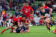 MELBOURNE, AUSTRALIA - APRIL 06: Campbell Magnay of the Rebels charges with the ball at round 8 of The Super Rugby match between Melbourne Rebels and Sunwolves on April 06, 2019 at AAMI Park in VIC, Australia. (Photo by Speed Media/Icon Sportswire)
