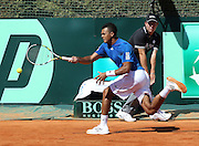06.APRIL.2012. MONACO<br /> <br /> MONACO (MCO)-JO WILFRIED TSONGA WON THE FIRST MATCH IN THE QUARTERFINALS OF TENNIS DAVIS CUP IN MONTE-CARLO, AGAINST AMERICAN RYAN HARRISON.  <br /> <br /> BYLINE: EDBIMAGEARCHIVE.COM<br /> <br /> *THIS IMAGE IS STRICTLY FOR UK NEWSPAPERS AND MAGAZINES ONLY*<br /> *FOR WORLD WIDE SALES AND WEB USE PLEASE CONTACT EDBIMAGEARCHIVE - 0208 954 5968*