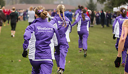 London, Ontario ---2012-11-10--- The Western Mustangs get ready at the 2012 CIS Cross Country Championships at Thames Valley Golf Course in London, Ontario, November 10, 2012. .GEOFF ROBINS Mundo Sport Images