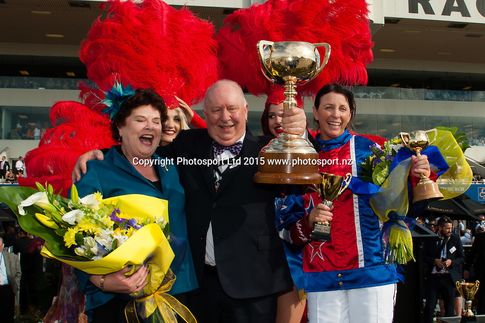 Winning NZ Trotting Cup owners Mr and Mrs Merv Butterworth and rider Kerryn Manning during the New Zealand Trotting Cup, at Addington Raceway, Christchurch, on the 10th November 2015. Copyright Photo: John Davidson / www.photosport.nz