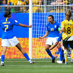 Marta of Brazil celebrates his scoring during the Women's World Cup match between Australia and Brazil at Stade de la Mosson on June 13, 2019 in Montpellier, France. (Photo by Alexandre Dimou/Icon Sport)