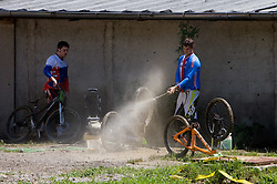 Bike wash at 5th European Championship in the 4-cross, on June 27, 2009, in Sport centre Pale, Ajdovscina, Slovenia. Due to bad weather conditions, the final part of the competition was cancelled. The results from the qualification part were called official. (Photo by Vid Ponikvar / Sportida)