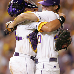 09 June 2008:  LSU pitcher, Anthony Ranaudo (right) is embraced by catcher, Sean Ochinko (left) after the final out against UC Irvine. The LSU Tigers advanced to the College World Series with a 21-7 victory over the UC Irvine Anteaters in game three of the NCAA Baseball Baton Rouge Super Regional Alex Box Stadium in Baton Rouge, LA..