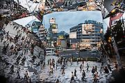 Tokyo, June 5 2012 - Omotesando avenue and Jingumae crossing as seen from the Tokyu Plaza by Japanese architect Hiroshi Nakamura (NAP).