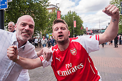 © Licensed to London News Pictures. 30/05/2015. London, UK. Arsenal supporters on Wembley Way, as fans gather at Wembley Stadium for the FA Cup Final 2015, between Arsenal and Aston Villa. Photo credit : Stephen Chung/LNP