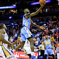 Mar 31, 2016; New Orleans, LA, USA; Denver Nuggets guard JaKarr Sampson (9) shoots over New Orleans Pelicans forward Luke Babbitt (8) during the first quarter of a game at the Smoothie King Center. Mandatory Credit: Derick E. Hingle-USA TODAY Sports