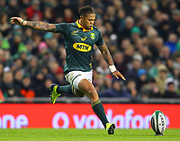 Rugby Union - 2017 Guinness Series (Autumn Internationals) - Ireland vs. South Africa<br /> <br /> South Africa's Elton Jantjies , at the Aviva Stadium.<br /> <br /> COLORSPORT/KEN SUTTON