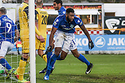 Eastleigh FC Defender Reda Johnson celebrates making it 2=1 during the Vanarama National League match between Southport and Eastleigh at the Merseyrail Community Stadium, Southport, United Kingdom on 17 December 2016. Photo by Pete Burns.