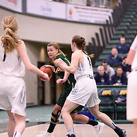 5th year forward Charlotte Kot (1) of the Regina Cougars during the Women's Basketball home game on January 6 at Centre for Kinesiology, Health and Sport. Credit: Arthur Ward/Arthur Images