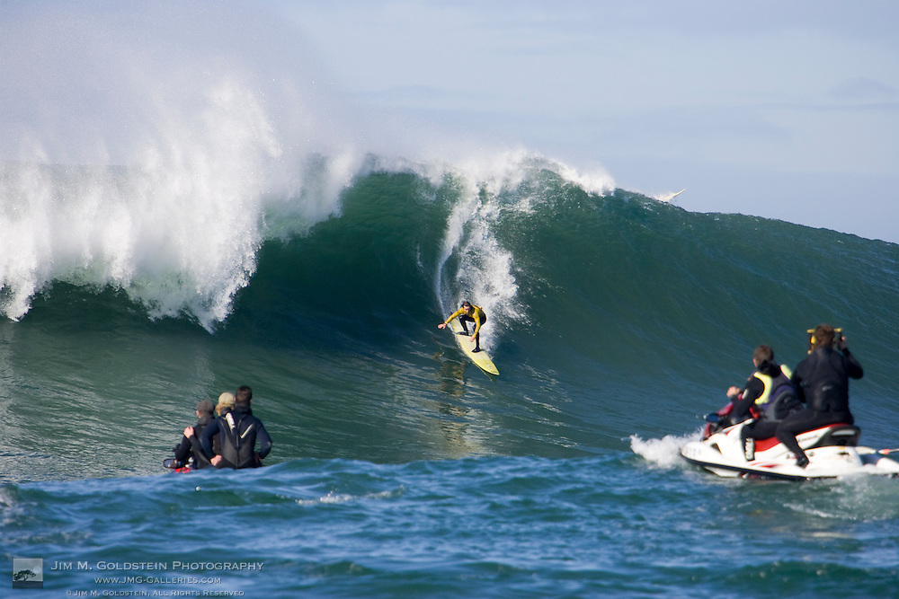 "Grant ""Twiggy"" Baker descends a wave in Heat 6 of the 2008 Mavericks Surf Contest on January 12 2008"