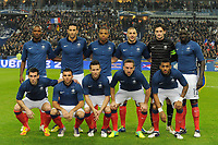 FOOTBALL - FRIENDLY GAME 2011 - FRANCE v BELGIUM - 15/11/2011 - PHOTO JEAN MARIE HERVIO / DPPI - TEAM FRANCE ( BACK ROW LEFT TO RIGHT: ERIC ABIDAL / ADIL RAMI / LOIC REMY / KARIM BENZEMA / HUGO LLORIS / MAMADOU SAKHO. FRONT ROW: ANTHONY REVEILLERE / MARVIN MARTIN / YOHAN CABAYE / FRANCK RIBERY / YANN M'VILA )