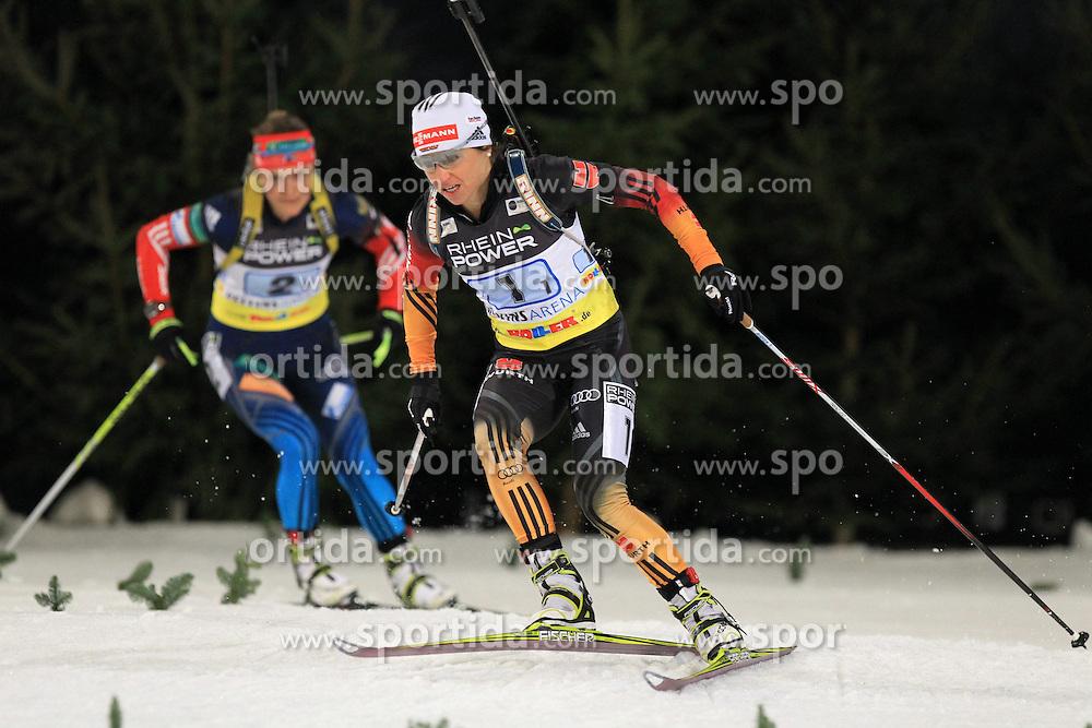 28.12.2013, Veltins Arena, Gelsenkirchen, GER, IBU Biathlon, Biathlon World Team Challenge 2013, im Bild Andrea Henkel (Deutschland / Germany) mit Ekaterina Yurlova (Russland / Russia) // during the IBU Biathlon World Team Challenge 2013 at the Veltins Arena in Gelsenkirchen, Germany on 2013/12/28. EXPA Pictures &copy; 2013, PhotoCredit: EXPA/ Eibner-Pressefoto/ Schueler<br /> <br /> *****ATTENTION - OUT of GER*****