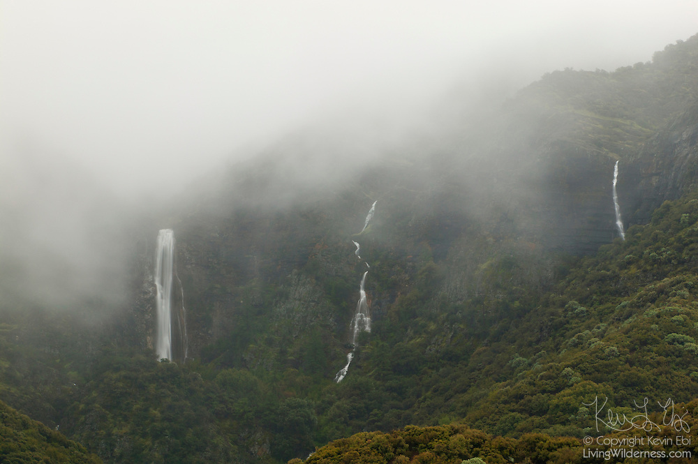Very heavy spring storms create two temporary waterfalls to join the year-round Rose Valley Falls, pictured at left, in the Los Padres National Forest near Ojai, California. Rose Valley Falls drops 300 feet (91 meters).