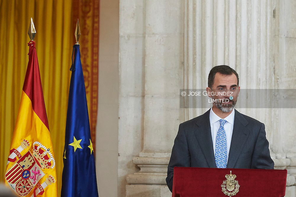 King Felipe VI of Spain attend the Delivery of the National Research Awards 2014 at Palacio Real on January 15, 2015 in Madrid