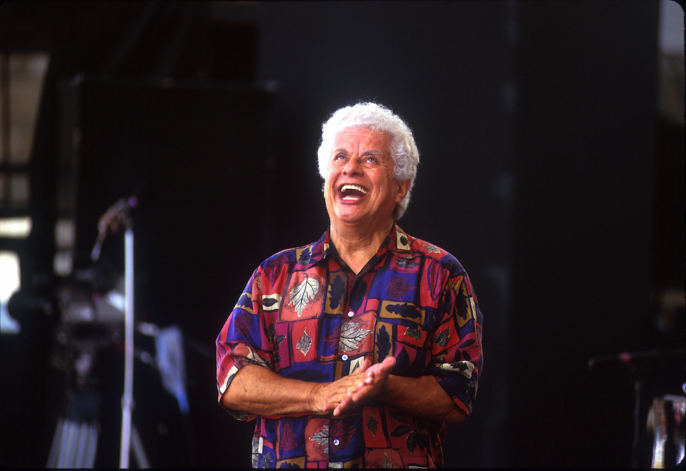 Tito Puente during a concert at the Newport Jazz Festival.  Newport, Rhode Island, USA.  15 August 1993.Photo ©  J.B. Russell