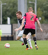 Dundee's new captain Rhys Weston goes past Southend United's Sean Clohessy - Dundee v Southend United - East Fife Tournament at New Bayview<br /> <br /> &copy; David Young<br /> <br /> <br /> http://www.davidyoungphoto.co.uk