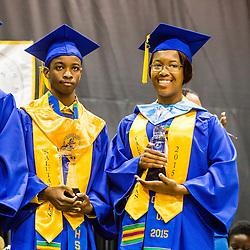 Salutatorian Carmi Thomas and Valedictorian Deja Todman.  Charlotte Amalie High School 85th Annual Commencement Program at UVI Sports and Fitness Center.  14 June 2015.  © Aisha-Zakiya Boyd