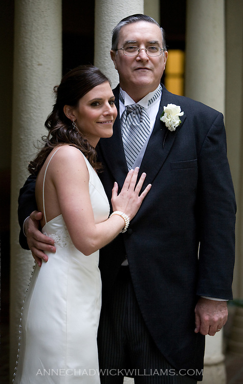 A bride with her father before her wedding in Westminster Presbyterian Church in Sacramento, California.