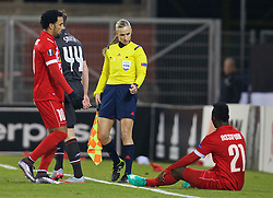 LIVERPOOL, ENGLAND - Thursday, December 10, 2015: Assistant referee Chrysoula Kourompylia and FC Sion's Ebenezer Assifuah during the UEFA Europa League Group Stage Group B match against Liverpool at Stade de Tourbillon. (Pic by David Rawcliffe/Propaganda)
