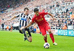 19.10.2013, St. James Park, New Castle, ENG, Premier League, ENG, Premier League, Newcastle United vs FC Liverpool, 8. Runde, im Bild Liverpool's Luis Suarez, action against Newcastle United // during the English Premier League 8th round match between Newcastle United and Liverpool FC St. James Park in New Castle, Great Britain on 2013/10/19. EXPA Pictures © 2013, PhotoCredit: EXPA/ Propagandaphoto/ David Rawcliffe<br /> <br /> *****ATTENTION - OUT of ENG, GBR*****