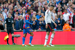Chris Smalling of Manchester United is shown a second yellow card and a red by referee Mark Clattenberg - Mandatory byline: Rogan Thomson/JMP - 21/05/2016 - FOOTBALL - Wembley Stadium - London, England - Crystal Palace v Manchester United - FA Cup Final.