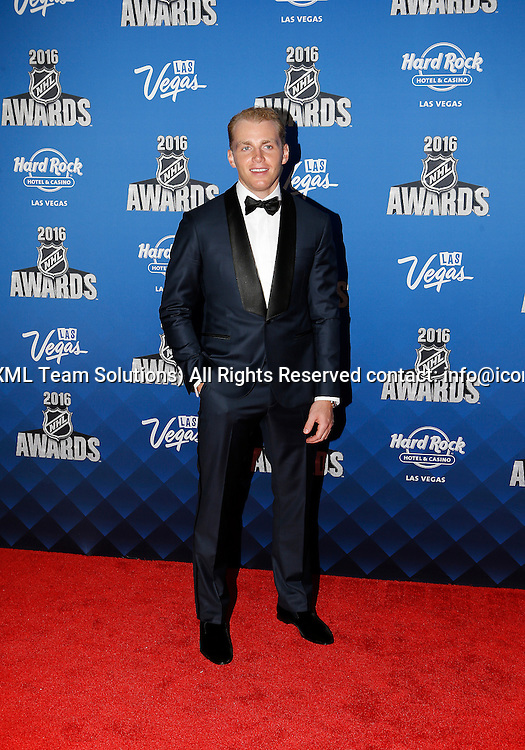 2016 June 22: Chicago Blackhawks right winger Patrick Kane poses for a photograph on the red carpet during the 2016 NHL Awards at the Hard Rock Hotel and Casino in Las Vegas, Nevada. (Photo by Marc Sanchez/Icon Sportswire)