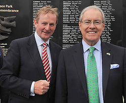 An Taoiseach Enda Kenny with US Ambassador to Ireland Kevin O'Malley who's grandparents originated from the Westport area pictured at the Mayo Peace Park Castlebar as part of his short visit to County Mayo this week.<br /> Pic Conor McKeown