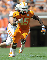 Apr 20, 2013; Knoxville, TN, USA; Tennessee Volunteers linebacker A.J. Johnson (45) during the first half of the spring Orange and White game at Neyland Stadium. Mandatory Credit: Randy Sartin-USA TODAY Sports