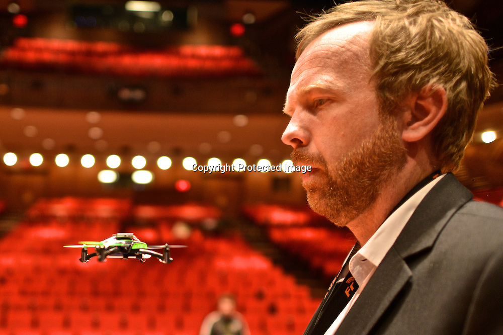 Eirik Solheim flying a toy quadcopter using First-person view (FPV), also known as remote-person view (RPV) at the Drones and Aerial Robotics Conference (DARC), held at New York University.