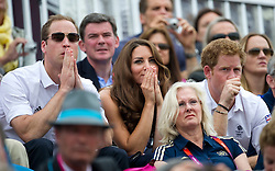 Duke and Duchess of Cambridge  and Prince Harry watching  Team GB competing in the show jumping at the London 2012 Olympics , Tuesday 31st July 2012 Photo by: i-Images