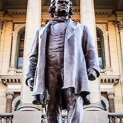 Picture of Stephen A. Douglas statue at the Illinois State Capitol building in Springfield Illinois. The statue was created by sculptor Gilbert P. Riswold and was dedicated in 1918