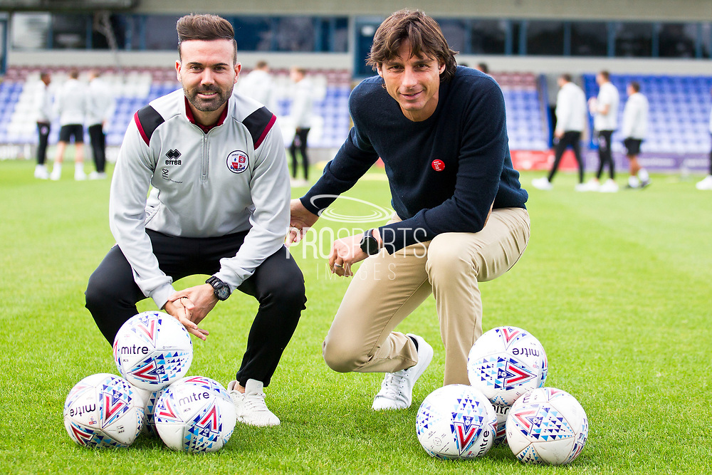 Crawley Town manager Gabriele Cioffi (right) with assistant manager Eduardo Rubio (left) before the EFL Sky Bet League 2 match between Macclesfield Town and Crawley Town at Moss Rose, Macclesfield, United Kingdom on 7 September 2019.