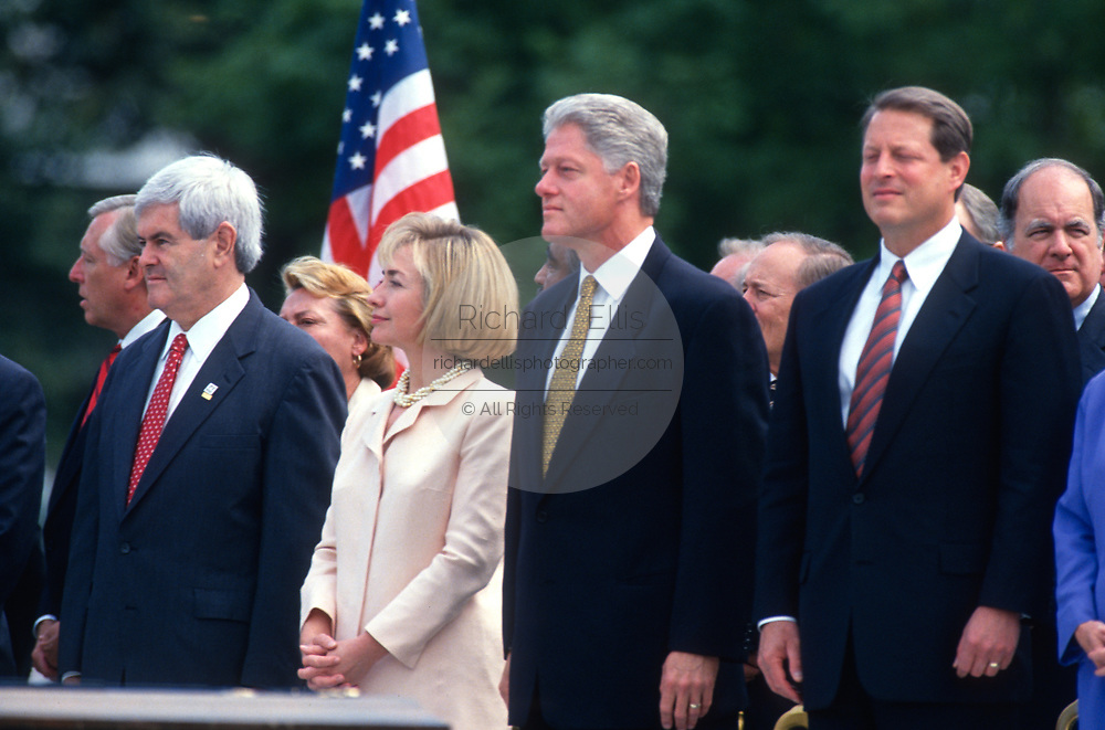 WASHINGTON, DC, USA - 1997/08/05: U.S. President Bill Clinton stands with Vice President Al Gore, right, First Lady Hillary Clinton, center, and Speaker Newt Gingrich during the signing ceremony for the balanced budget bill on the South Lawn of the White House August 5, 1997 in Washington, DC.  (Photo by Richard Ellis)