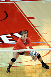 17 October 2015:  Ashley Rosch(15) reaches low for a dig during an NCAA women's volleyball match between the Southern Illinois Salukis and the Illinois State Redbirds at Redbird Arena in Normal IL (Photo by Alan Look)
