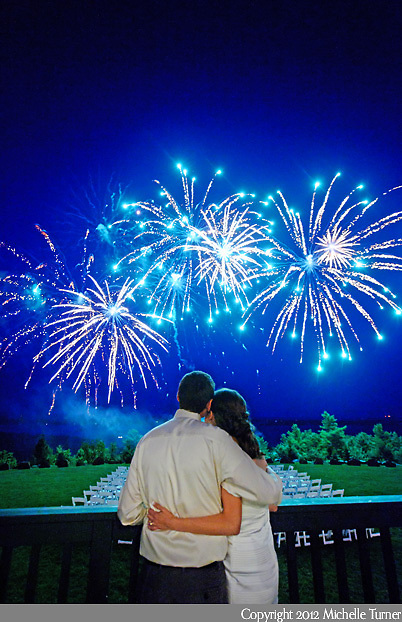 Fireworks to end the evening at a Point Lookout Wedding in Maine.  Images by Maine wedding photographer Michelle Turner.
