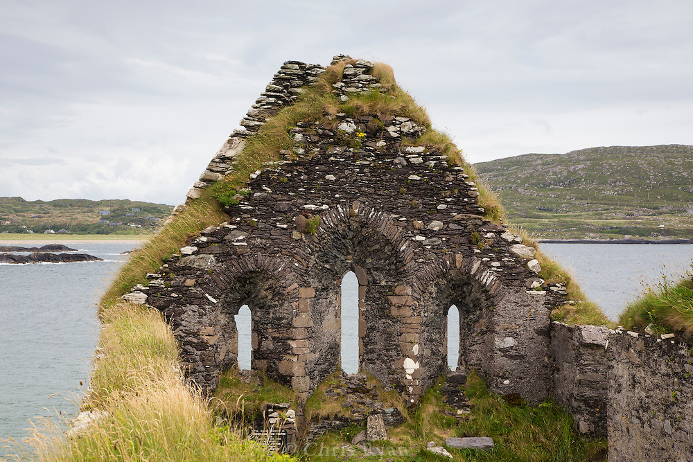 Ruins of church on Abbey Island, County Kerry, Ireland