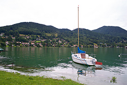 ROTTACH-EGERN, GERMANY - Thursday, July 27, 2017: A boat on Lake Tegernsee on day two of their preseason training camp in Germany. (Pic by David Rawcliffe/Propaganda)