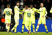 Barcelona player Gerard Pique (l) celebrating the 0-2 during the UEFA Champions League, Group B football match between PSV Eindhoven and FC Barcelona on November 28, 2018 at Philips Stadium in Eindhoven, Netherlands - Photo Thomas Bakker / Pro Shots / ProSportsImages / DPPI