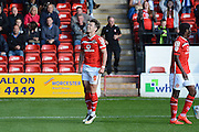 Tom Bradshaw celebrates scoring the first goal during the Sky Bet League 1 match between Walsall and Doncaster Rovers at the Banks's Stadium, Walsall, England on 12 September 2015. Photo by Alan Franklin.