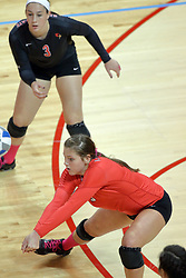12 October 2013:  Emily Orrick watches Ashely Rosch dig during an NCAA womens volleyball match between the Missouri State Bears and the Illinois State Redbirds at Redbird Arena in Normal IL