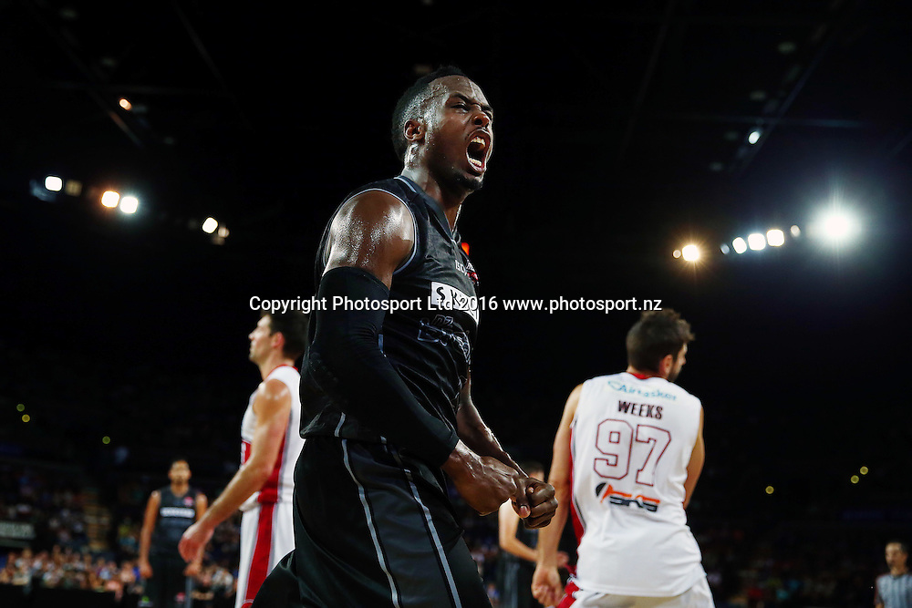Cedric Jackson of the Breakers celebrates his and-one basket. 2015/16 ANBL, SkyCity Breakers vs Illawarra Hawks, Vector Arena, Auckland, New Zealand. 17 January 2016. Photo: Anthony Au-Yeung / www.photosport.nz